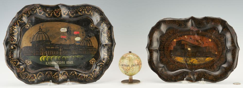 3 World's Fair Exhibition Souvenir Items inc. Globe, Toleware