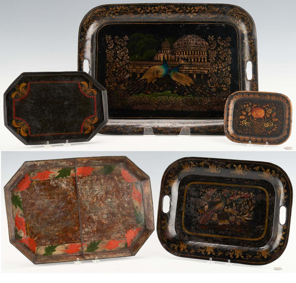 5 Toleware Trays, incl. Chinoiserie Peacocks