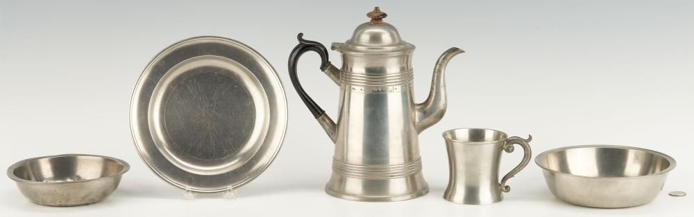 5 American Pewter Items, incl. Israel Trask Coffeepot