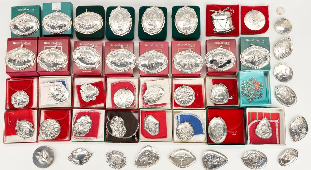 45 Sterling Christmas Ornaments by Tiffany, Reed & Barton, Towle