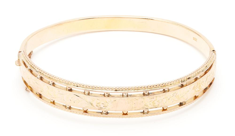 9K Floral Bangle Bracelet