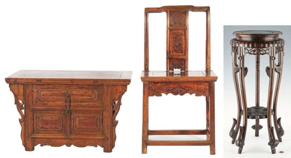 Chinese Stand, Chair and Cabinet with Secret Compartments