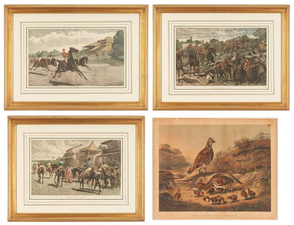 4 Animal Prints, incl. Currier and Ives, Cares of a Family