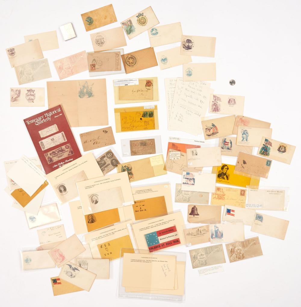 Civil War Confederate & Union Postal Covers & Currency, approx. 80 items
