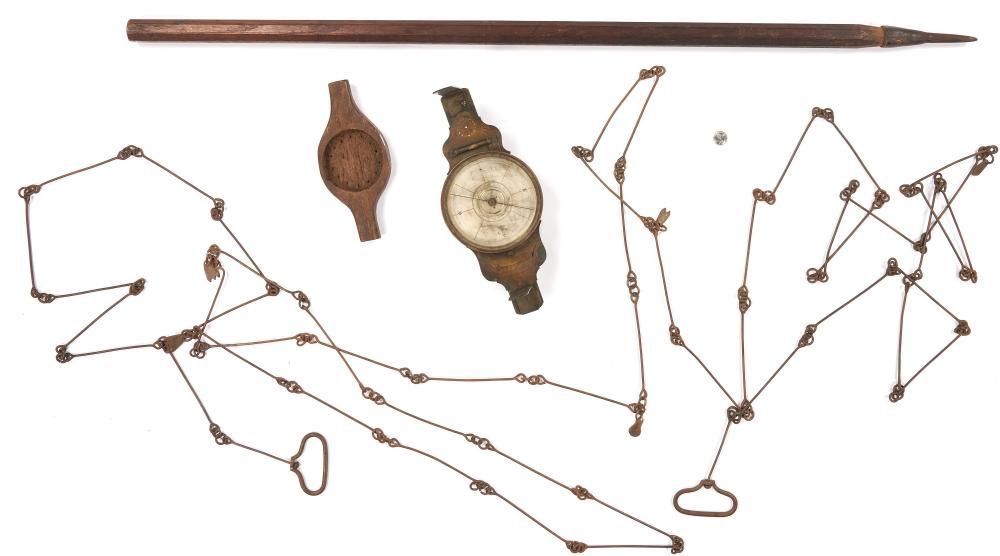 4 Surveyor's Equipment Items, incl. Thomas Whitney Vernier Compass