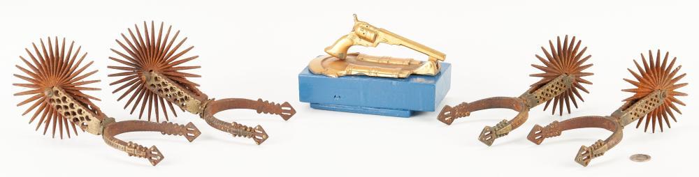 Brass Pistol Door Knocker & Espuela Grande Style Spurs, 6 items