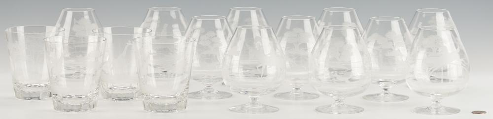 15 Pcs. Etched Hunt Theme Crystal incl. Queen Lace and Royal Brierley