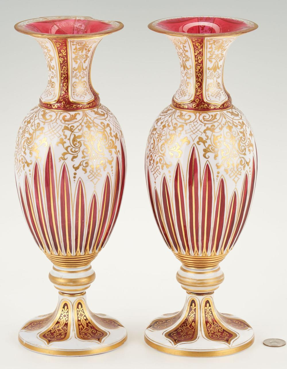 Pair of Victorian Cased Glass Vases