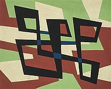 José Pedro Costigliolo (1902-1985), Forma negra y azul. Tempera on cardboard.