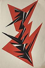 María Freire (1917-2015), Dinámica en fondo rojo. Tempera on paper.