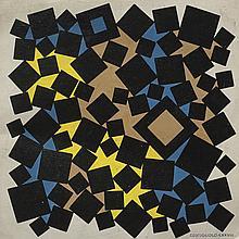 José Pedro Costigliolo (1902-1985), Cuadrados. Acrylic on pasteboard.