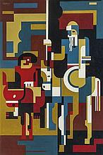 José Pedro Costigliolo (1902-1985), Abstracción. Don Quijote y Sancho Panza. Oil on fiber.