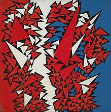 José Pedro Costigliolo (1902-1985), Triángulos en tres colores. Oil on fiber.