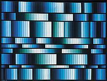 María Freire (1917-2015), Vibrante azul. Acrylic on canvas.
