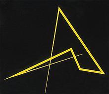 María Freire (1917-2015), Negro amarillo. Enamel on sheet metal.