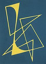 José Pedro Costigliolo (1902-1985), Forma amarilla en fondo azul. Tempera on cardboard.