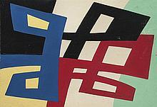 José Pedro Costigliolo (1902-1985), Forma en cinco colores. Tempera on paper.