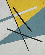 José Pedro Costigliolo (1902-1985), Composición con lineas negras. Tempera on paper.