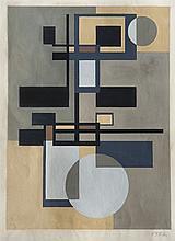 José Pedro Costigliolo (1902-1985), Construcción con círculos. Tempera on paper.