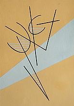 José Pedro Costigliolo (1902-1985), Composición con fondo naranja. Tempera on pasteboard.