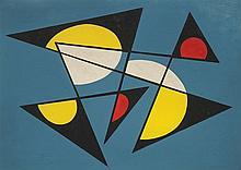 José Pedro Costigliolo (1902-1985), Forma con fondo azul. Tempera on pasteboard.