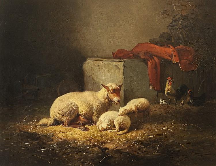 ROBBE, LOUIS- SHEEP IN A BARN