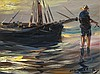 KOEKKOEK, STEPHEN- A BOAT AND FISHERMAN AT SUNSET, Stephen Robert Koekkoek, Click for value