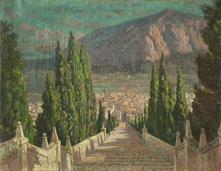 RIBAS PRAT, ANTONIO- A LANDSCAPE WITH STAIRCASE AND TOWN