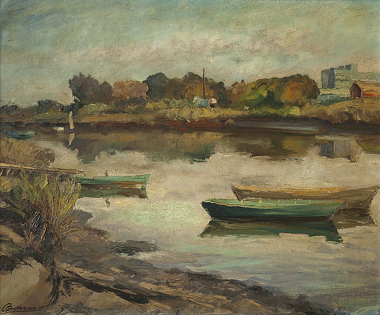 BORRARO, LUIS - LANDSCAPE WITH BOATS