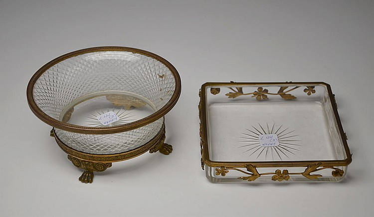 A PAIR OF FRENCH CRYSTAL AND BRONZE CENTREPIECES