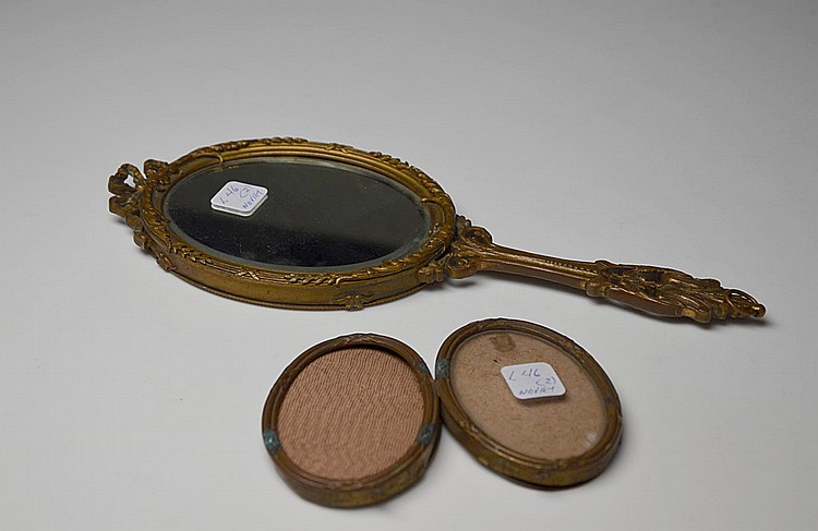 A FRENCH BRONZE VANITY MIRROR AND PHOTO FRAME