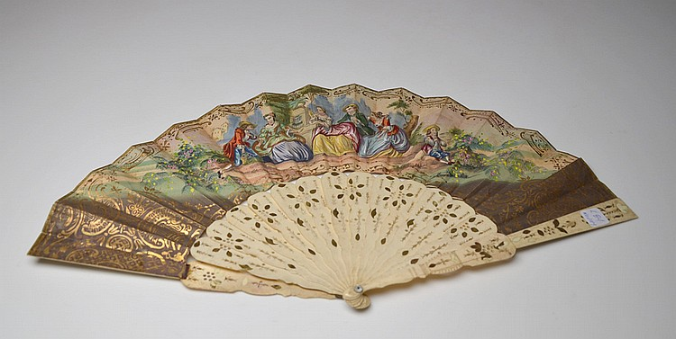 A FRENCH PAPER AND IVORY HAND FAN