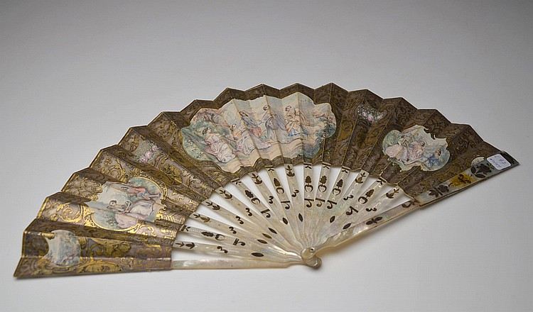 A FRENCH PAPER AND NACRE HAND FAN