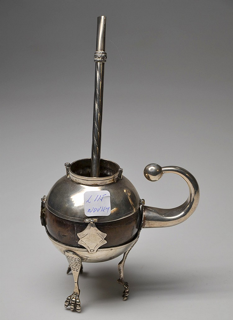 A SILVER MATE TEA GOURD AND STRAW