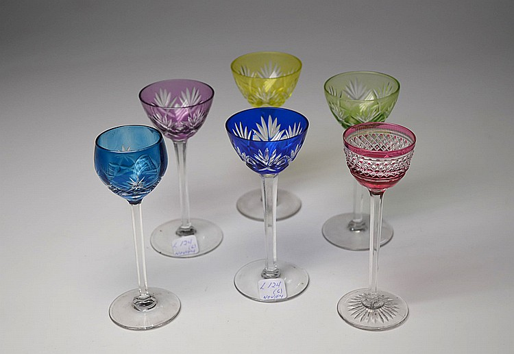 A SET OF SIX CRYSTAL GLASSES