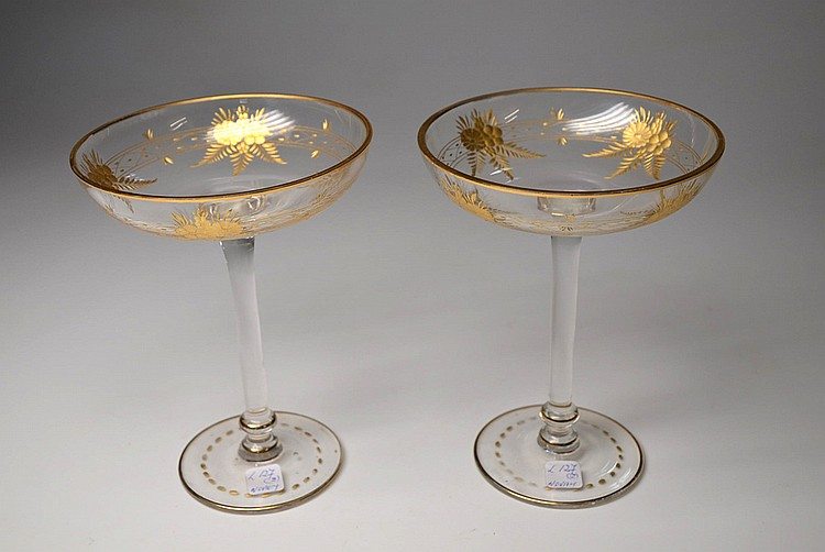 A PAIR OF BACCARAT CRYSTAL CANDY DISHES