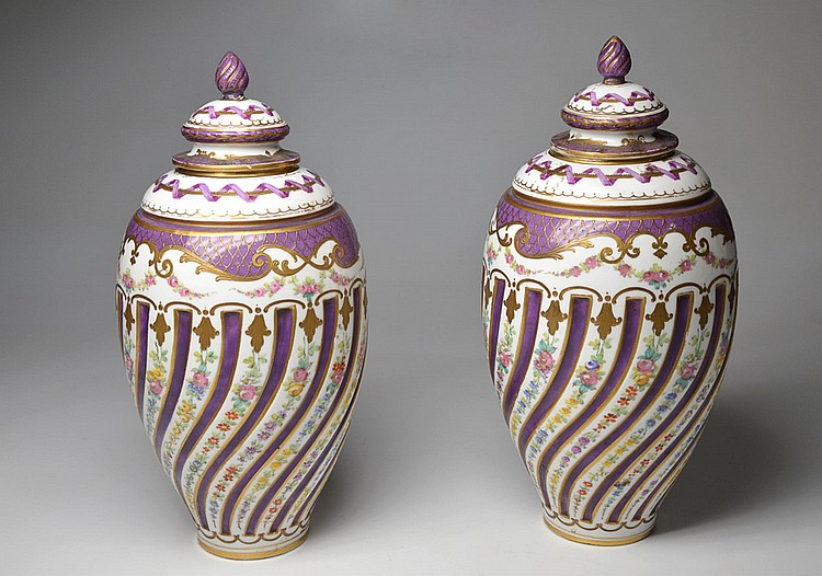 A PAIR OF SEVRES MANUFACTURE POTICHES