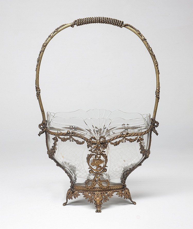 A LOUIS XVI BRONZE AND CRYSTAL CENTERPIECE
