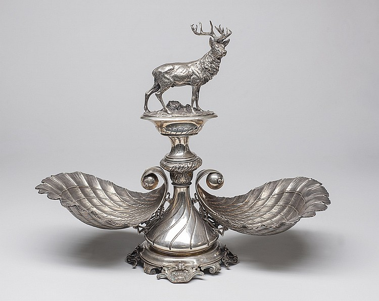 Elegante centro de mesa en plata Austro-Húngara,