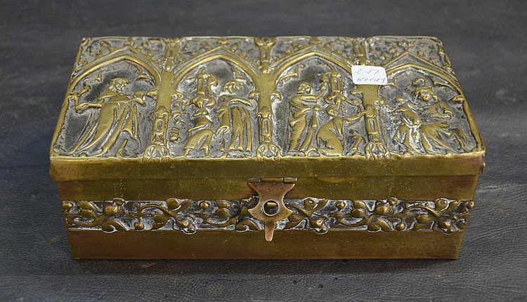 A GOTIC METAL JEWELRY BOX