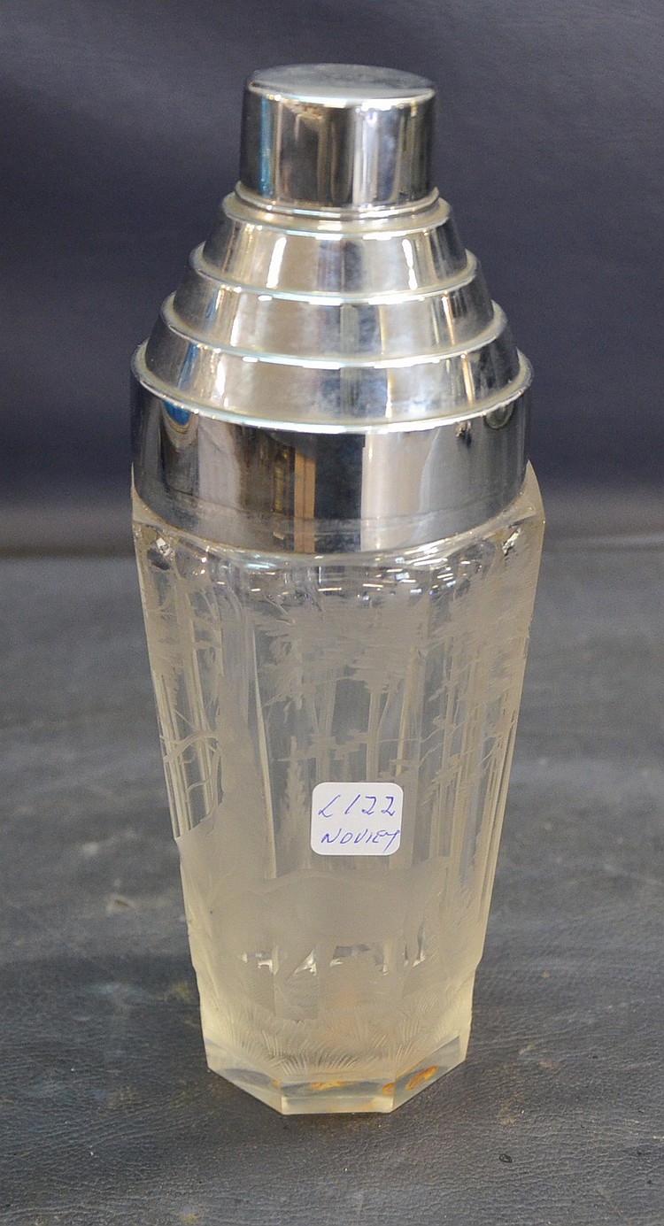 A CRYSTAL COCKTAIL SHAKER
