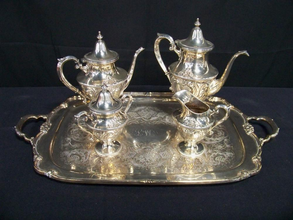 Four Piece Sterling Silver Coffee & Tea Set with Plated Tray