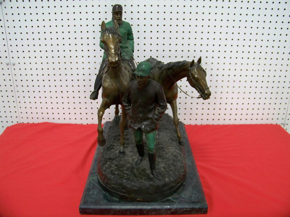 Bronze Sculpture of Horses and Rider