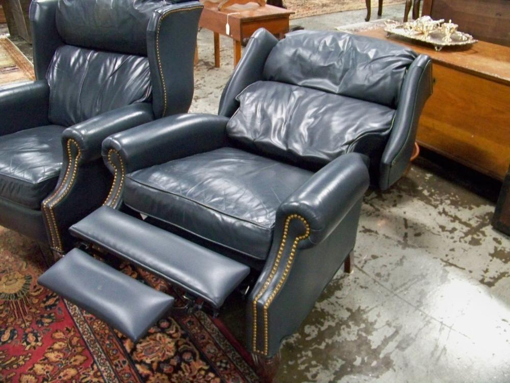 Pair of Leather Wingback Reclining Chairs