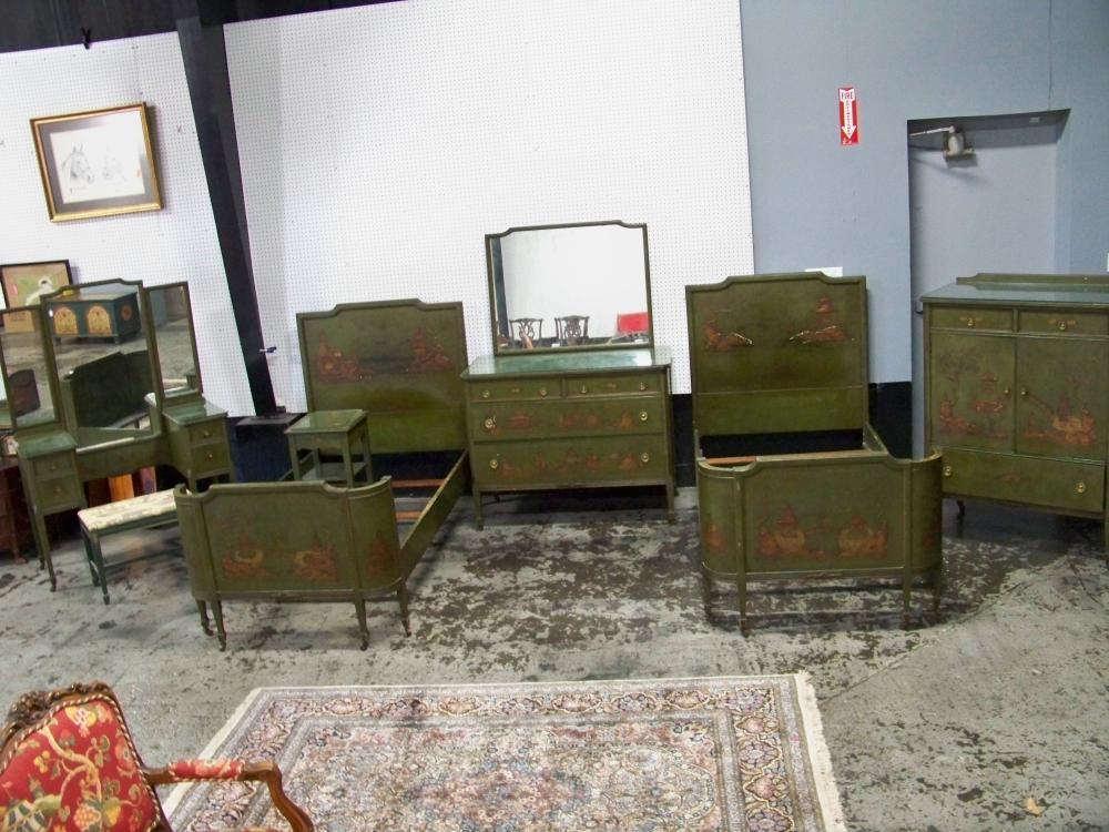 Vintage Eight Piece Chinoiserie Bedroom Set