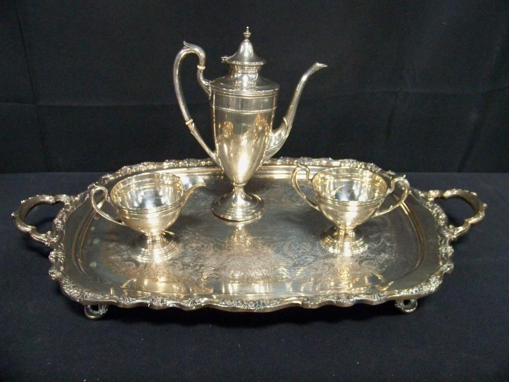 Gorham Sterling Silver Three Piece Tea Set with Plated Tray