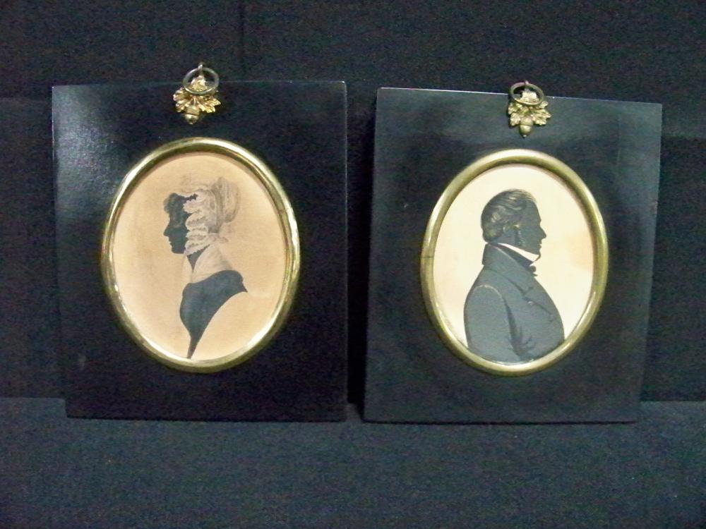 Pair of Antique Identified Kentucky Silhouettes in Frame