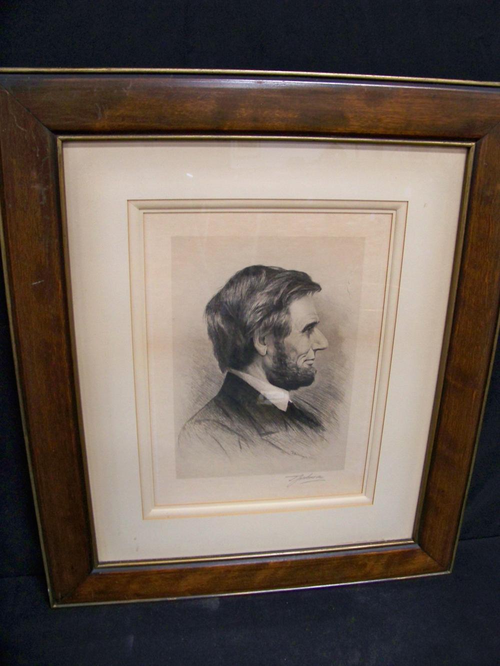 1900 Thomas Johnson Etching of Abraham Lincoln
