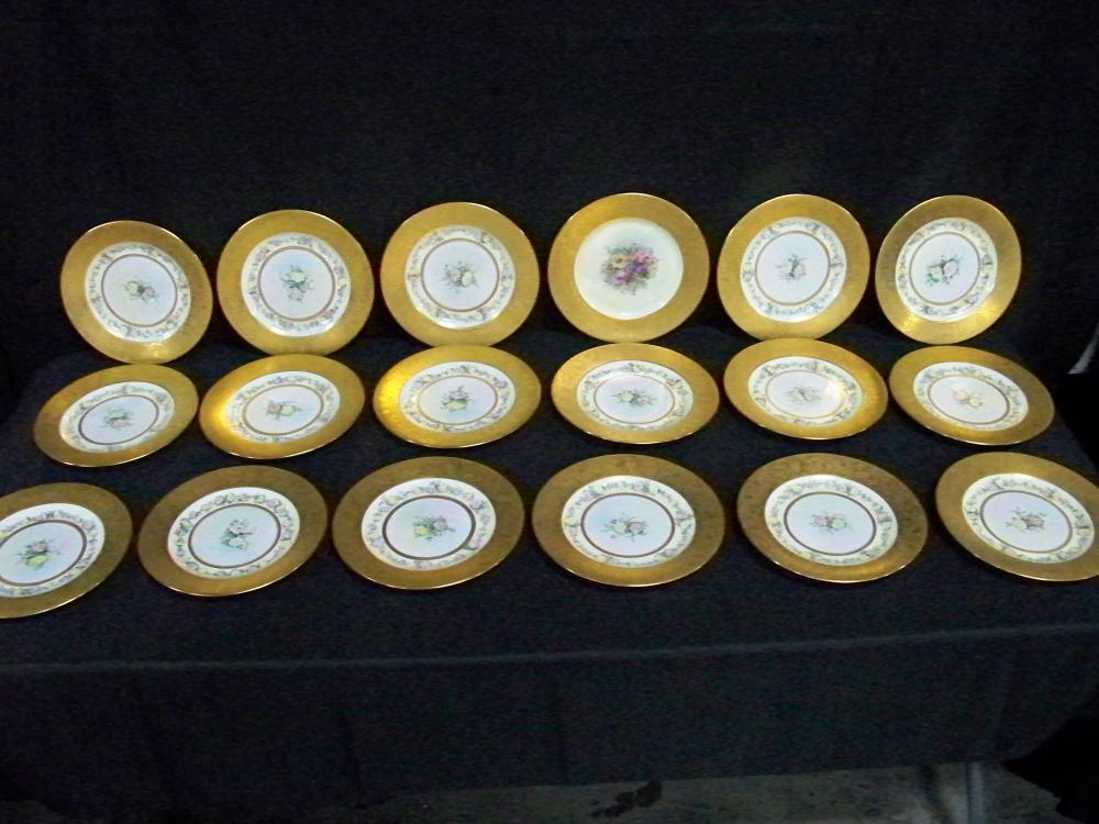 Set of Seventeen Gold Rimmed Dinner Plates