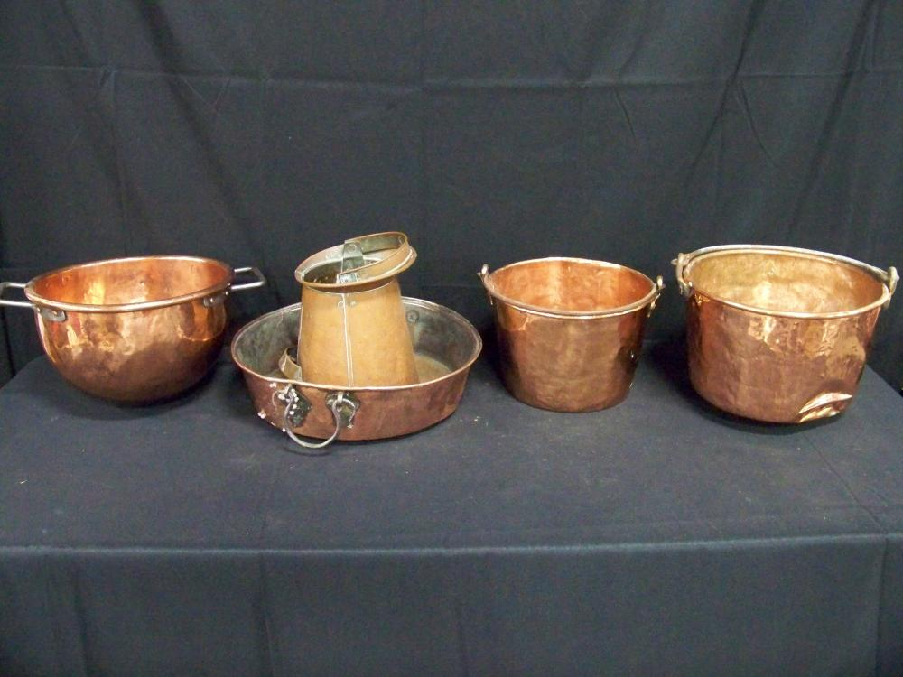 Large Group of Antique Copper Kitchenware